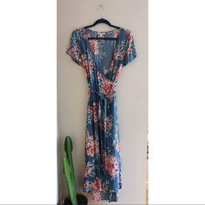 Billabong Blue Floral Wrap Maxi Dress Nordstrom